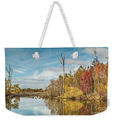 Weekender Tote Bag featuring the photograph Fall Pond by Debbie Green