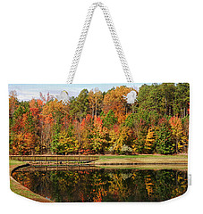 Weekender Tote Bag featuring the photograph Fall Reflections Three by Ben Shields