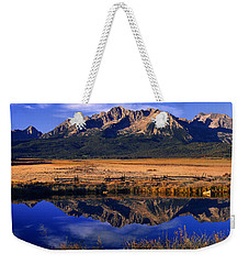 Weekender Tote Bag featuring the photograph Fall Reflections Sawtooth Mountains Idaho by Dave Welling