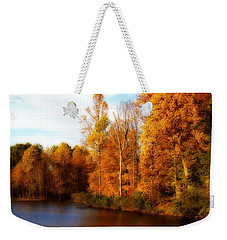 Weekender Tote Bag featuring the photograph Fall Scene At Hedden Pond With Orton Effect by Eleanor Abramson