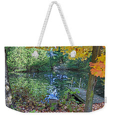 Weekender Tote Bag featuring the photograph Fall Scene By Pond by Brenda Brown