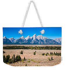 Weekender Tote Bag featuring the photograph Fall Tetons   by Lars Lentz