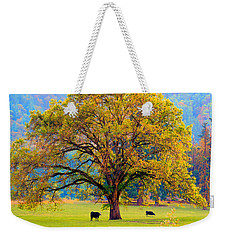 Fall Tree With Two Cows Weekender Tote Bag