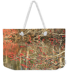 Weekender Tote Bag featuring the photograph Fall Upon The Water by Bruce Carpenter