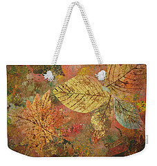 Weekender Tote Bag featuring the painting Fallen Leaves II by Ellen Levinson