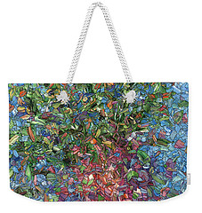Weekender Tote Bag featuring the painting Falling Flowers by James W Johnson