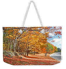 Falling Leaves On The Road To Bentley Weekender Tote Bag by Rita Brown