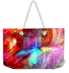 Falling Petal Abstract Red Magenta And Blue B Weekender Tote Bag by Heather Kirk