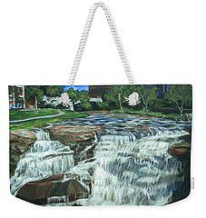 Weekender Tote Bag featuring the painting Falls River Park by Bryan Bustard