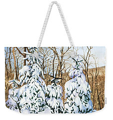 Weekender Tote Bag featuring the painting Family Of Four Trailside At 7 Springs by Barbara Jewell
