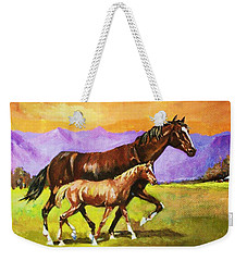 Weekender Tote Bag featuring the painting Family Stroll by Al Brown