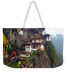 Famous Tigers Nest Monastery Of Bhutan 10 Weekender Tote Bag
