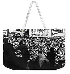 Fans In The Bleachers During A Baseball Game At Yankee Stadium Weekender Tote Bag