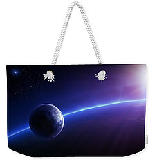 Fantasy Earth And Moon With Colourful  Sunrise Weekender Tote Bag