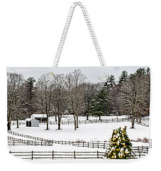 Weekender Tote Bag featuring the photograph Horse Farm And The Tree by Mike Ste Marie