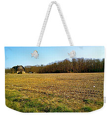 Farm Field With Old Barn Weekender Tote Bag
