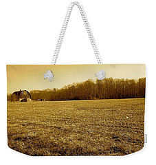 Weekender Tote Bag featuring the photograph Farm Field With Old Barn In Sepia by Amazing Photographs AKA Christian Wilson