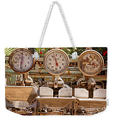 Weekender Tote Bag featuring the photograph Farm Scales by Kerri Mortenson