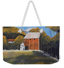 Weekender Tote Bag featuring the painting Farm With Red Barn by Pamela  Meredith