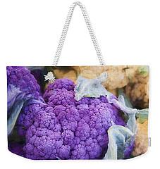 Farmers Market Purple Cauliflower Square Weekender Tote Bag by Carol Leigh
