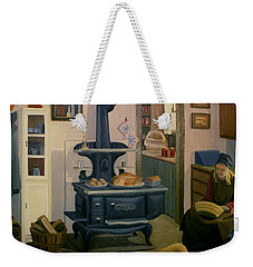 Weekender Tote Bag featuring the painting Farmhouse In Autumn 1990 by Nancy Griswold