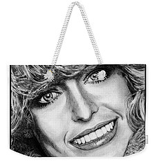 Weekender Tote Bag featuring the drawing Farrah Fawcett In 1976 by J McCombie