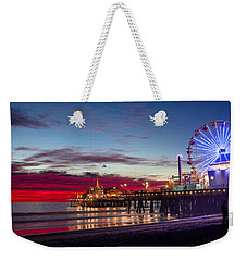 Ferris Wheel On The Santa Monica California Pier At Sunset Fine Art Photography Print Weekender Tote Bag by Jerry Cowart