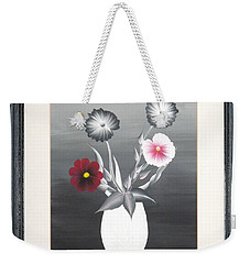 Weekender Tote Bag featuring the painting Faux Flowers II by Ron Davidson