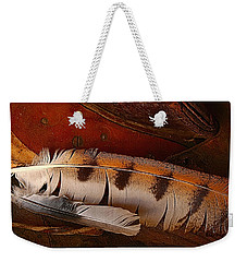 Feather And Leather Weekender Tote Bag