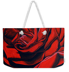 Weekender Tote Bag featuring the painting February Rose by Thu Nguyen