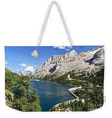 Weekender Tote Bag featuring the photograph Fedaia Pass With Lake by Antonio Scarpi