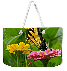 Female Tiger Swallowtail Butterfly With Pink And Yellow Zinnias Weekender Tote Bag