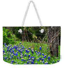 Fenced In Bluebonnets Weekender Tote Bag by David and Carol Kelly