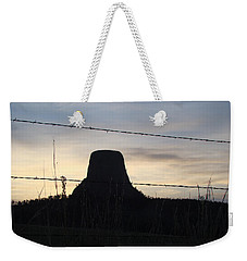 Weekender Tote Bag featuring the photograph Fencing Devil's Tower by Cathy Anderson