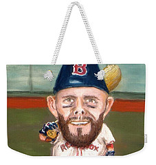 Weekender Tote Bag featuring the painting Fenway's Garden Gnome by Jack Skinner