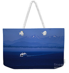 Ferry Boat In Puget Sound With Olympic Mountains Weekender Tote Bag