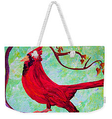 Weekender Tote Bag featuring the painting Festive Cardinal by Eloise Schneider