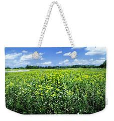 Field Of Flowers Sky Of Clouds Weekender Tote Bag