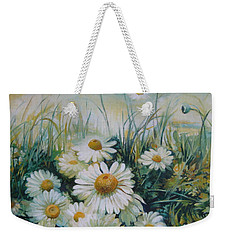 Weekender Tote Bag featuring the painting Field Of Flowers by Elena Oleniuc