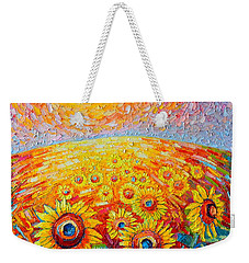 Fields Of Gold - Abstract Landscape With Sunflowers In Sunrise Weekender Tote Bag