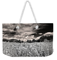 Weekender Tote Bag featuring the photograph Fields Of Gold And Clouds by Mitchell R Grosky