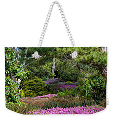 Weekender Tote Bag featuring the photograph Fields Of Heather by Jordan Blackstone