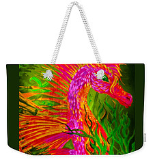 Weekender Tote Bag featuring the painting Fiery Sea Horse by Adria Trail