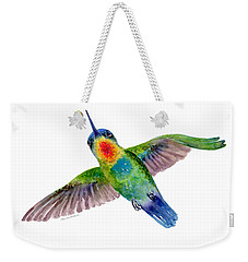 Fiery-throated Hummingbird Weekender Tote Bag by Amy Kirkpatrick