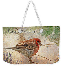 Finch Greeting Card Father's Day Weekender Tote Bag by Debbie Portwood