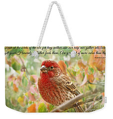 Finch With Verse New Version Weekender Tote Bag by Debbie Portwood