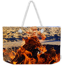 Weekender Tote Bag featuring the photograph Fire At The Beach by Mariola Bitner
