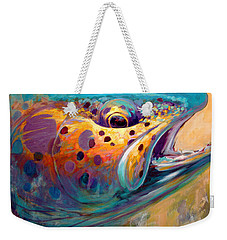 Fire From Water - Rainbow Trout Contemporary Art Weekender Tote Bag by Savlen Art
