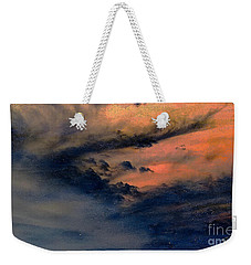 Weekender Tote Bag featuring the painting Fire In The Hills by Chris Armytage