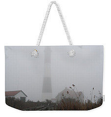 Fire Island Lighthouse In Fog Weekender Tote Bag by Karen Silvestri